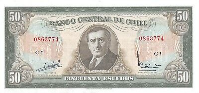 Chile  50  Escudos  1970's  P 140a  Series  C 5  Circulated Banknote BW