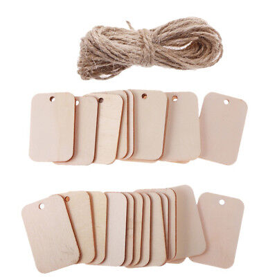 25/50Pcs Wood Gift Tags Blank Wooden Placard Wedding Hanging Decor With Rope
