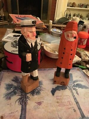 """Pair of Vintage Hand Carved Wood Sailors With Pipes 10"""" Folk Art Nautical"""