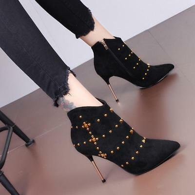 Womens High Heels Stilettos Pointed Toe Side Zipper Rivet Sexy Ankle Boots  T484