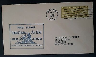 RARE 1934 United States 1st Flight Barre Vermont Cover ties 8c stamp