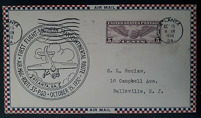 RARE 1930 United States 1st Transcontinental Flight Cover ties 5c stamp Atlanta