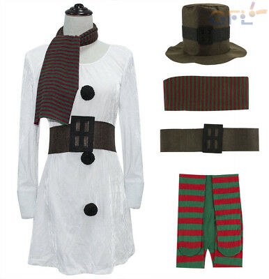 Fashion Ladies Miss Snowman Fancy Dress Costume Christmas Party Womens Outfit