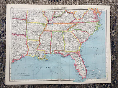 C1951 Antique Map USA America Southern Florida  Large J G Bartholomew
