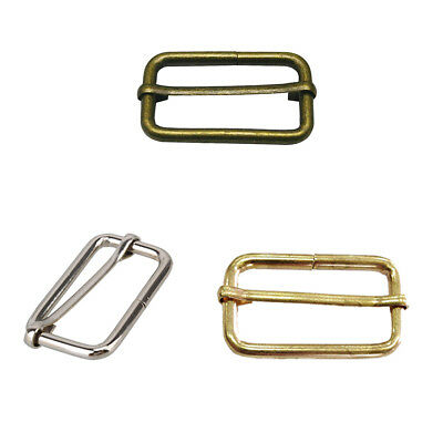38mm Rectangle Metal Sliding Bar Tri-Glides Wire-Formed Buckles For Strap Keeper
