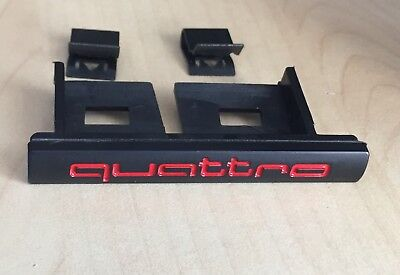 Audi Red Quattro Front Grill Badge A3 S3 A4 S4 RS3 RS4 RS6 TT Q5 Q7 A5 S5 A6