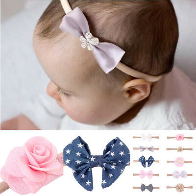 10Pcs Baby Kids Girls Infant Toddler Flower Bow Headband Hair Band Accessories