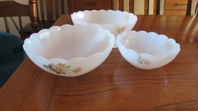 Vintage Set of 3 Arcopal France White Milk Glass Bowls with Apricot Roses