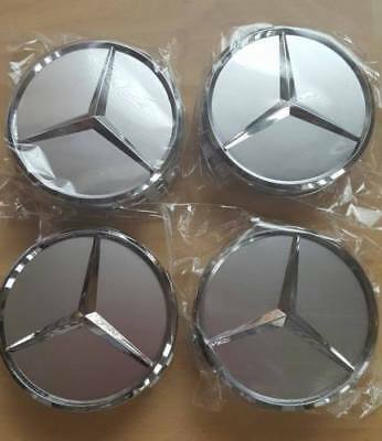 4x Mercedes Benz Silver Alloy Wheels Centre Caps 75MM ~B GRADE READ DESCRIPTION~
