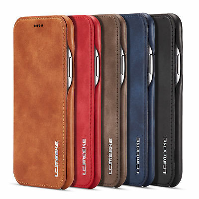 For iPhone 6s 7 8 Plus X XR XS Max Leather Flip Magnetic Wallet Stand Case Cover