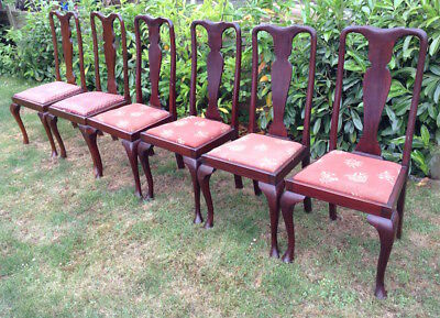 Queen Anne style antique vintage  set of 6 dining chairs – based in Essex