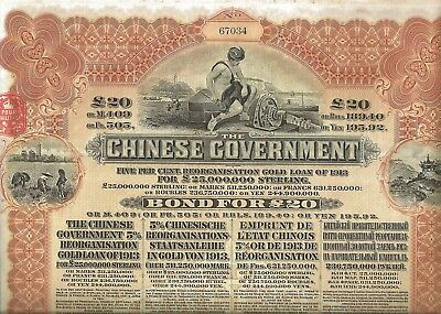 China: The Chinese Government Reorganisation Gold Loan of 1913 (20 Pfund) unc.