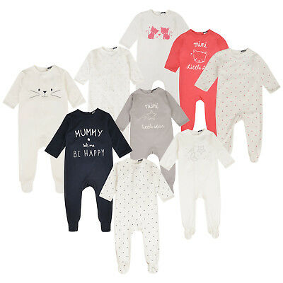 BABY BOYS GIRLS 3 PACK SLEEPSUITS EX STORE 100% COTTON BABYGROWS 1m - 24m NEW