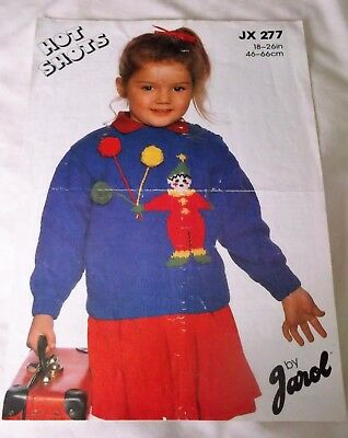 ORIGINAL JAROL 'HOT SHOTS' KNITTING PATTERN No.JX277 CHILD'S CLOWN SWEATER