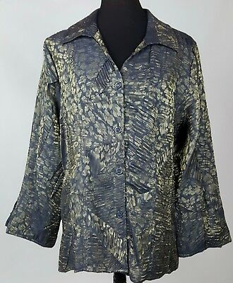 Erin London Womens Sheer Metallic Top L Navy Blue Gold Print Button Front Blouse
