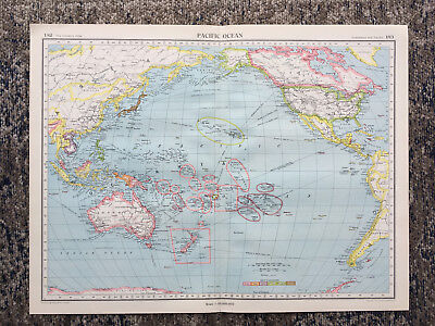 1951 Large Antique Map Pacific Ocean  J G Bartholomew