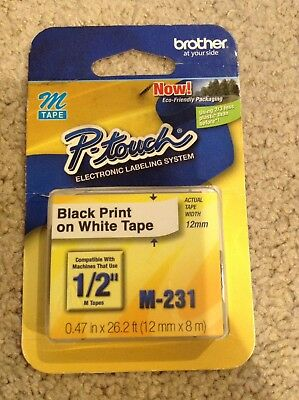 """GENUINE Brother M231 P-Touch Label Tape MK-231S MK231 1/2"""" Black on White"""