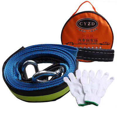 5M Car Towing Trailer Rope Strap Tow Cable with U-Shaped Hooks Heavy Duty 8 Tons