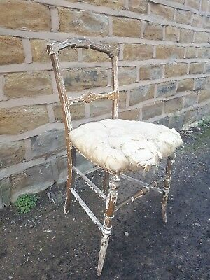 Antique Louis XVI French Bedroom Salon Chair Gilded Gold Gilt Gesso Vintage