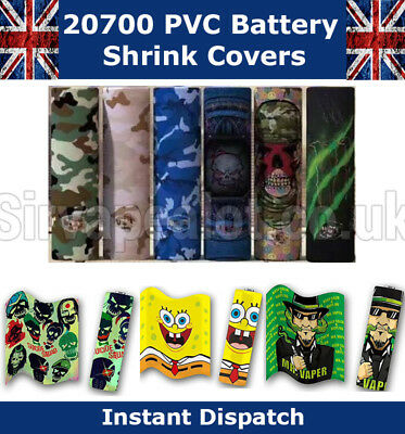 Huge Selection 20700 Battery Wraps PVC Heat Shrink covers Various Styles Vape