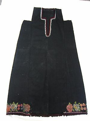 19Th Dress Clothing Bulgaria Folk Costume, Antique Vintage Embroidery 100% Wool