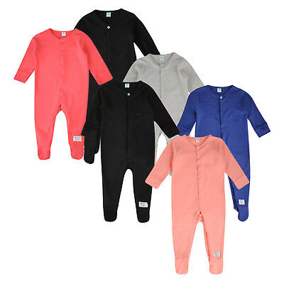 Baby Boys Girls 3 Pack Sleepsuits Ex Store 100% Cotton Babygrows 1-24M New