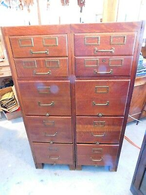 Pair Matching Antique Tiger Oak  5 Drawer File Cabinets Smith & Wesson Pulls