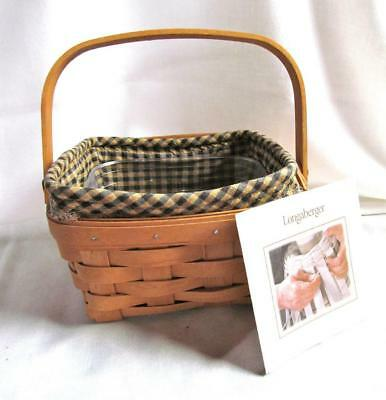 Vintage 2000 Longaberger MEDIUM BERRY BASKET w/Handle Khaki Combo  #13-11