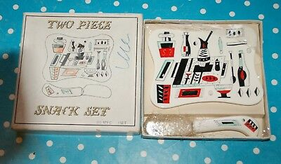 Snack set 1950s ESD Japan from Canada Plate and knife in originl box