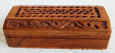 Old Unique Design  Wooden Hand Made Carved Trinket Jewelry Storage Box