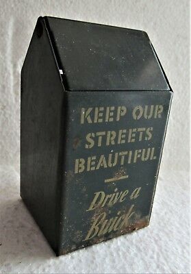 "Vintage ""Drive a Buick"" Metal Trash Can Advertising Counter Display"