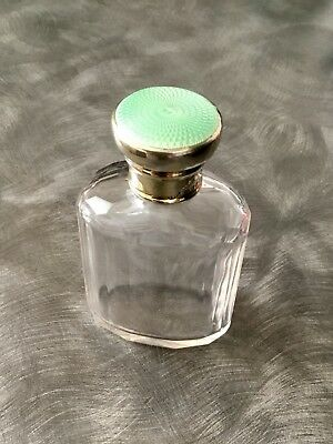 Solid Silver & Guilloche Enamel Topped Scent/cologne Bottle London 1934