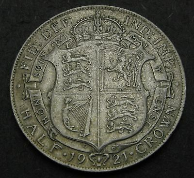 GREAT BRITAIN 1/2 Crown 1921 - Silver - George V. - VF- - 1261