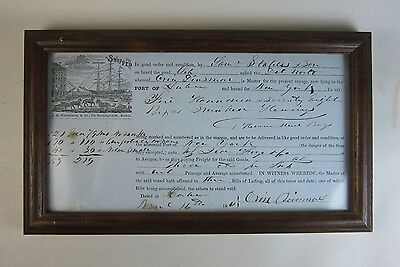1861 Bill of Lading Document Schooner Del Norte Orin Dinsmore, Lubec Maine to NY