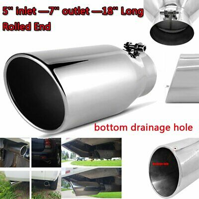 Angled Black 18 inch 5 Inlet 7 Outlet Stainless Truck 203187 Bolt On Exhaust Tip
