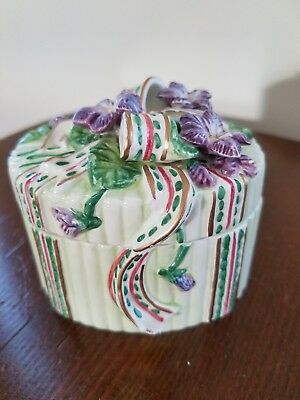 Fitz & Floyd Essential Covered Trinket Box Violet Flowers and Bows New