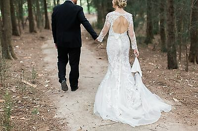 Wedding dress size12 vintage lace mermaid style, long sleeves - RRP $4600