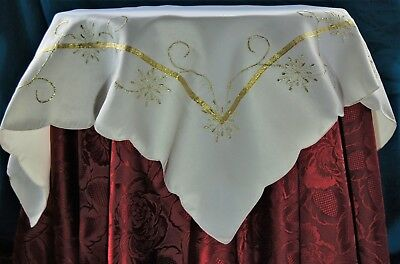 Gold Embroidered Snowflakes Cream Small Festive Christmas Square Table Cloth