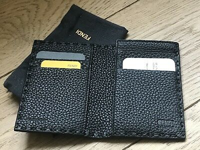 3330fce5cefe NEW AUTH FENDI SELLERIA NERO Leather Card Credit Card Holder LUXURY GOODS  UNISEX