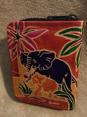 Elephant Designer Leather Ladies Wallet Clutch, Unused, Colorful