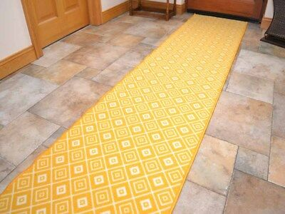 Long Runners Rugs Mustard New Gold Non-Slip Rubber Backed Hall Extra Narrow Mats