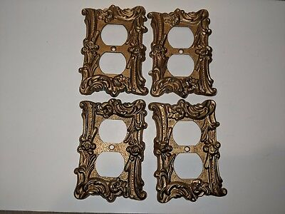 Vintage Lot of 4 Brass Tone Electric Switch Outlet Wall Plate Covers Mid Century