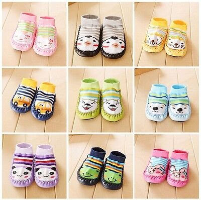 Baby Boy Girl Socks Anti Slip Newborn Animal Cartoon Shoes Slippers 0-24 months