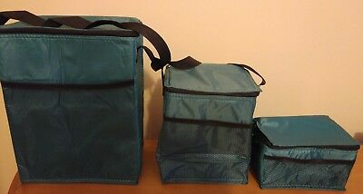 Set of 3 Blue/Green Insulated Lunch Bags, Containers - Lunch Box Lunch Bag