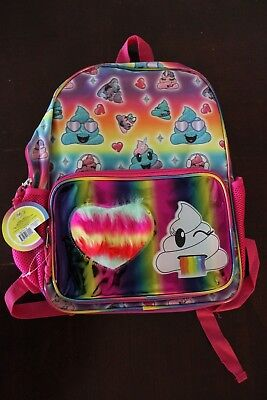 "Emoji Rainbow Poop Backpack 16"" Kids School Book Bag Full Size"