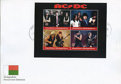 Madagascar 2018 FDC AC/DC ACDC Rock Band 4v M/S Cover Music Guitars Stamps