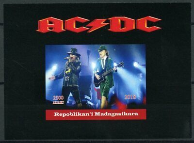 Madagascar 2018 MNH AC/DC ACDC Rock Band 1v Deluxe S/S Music Guitars Stamps
