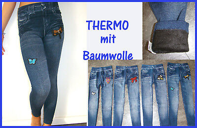 Thermo Jeggings Winterleggings Leggings Kinder BAUMWOLLE Kunsfell Innenfutter