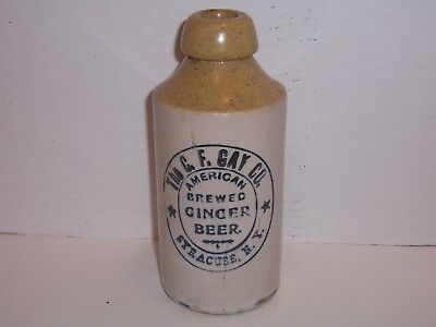 C.f. Gay Co. Syracuse N.y. Antique Ginger Beer Stoneware Bottle