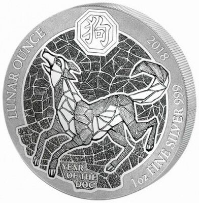 Ruanda 50 RWF Francs 2018 Year of the Dog Hund 1oz Silbermünze Folie OVP
